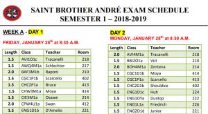 Final Sem 1 Exam Schedule Jan 2019