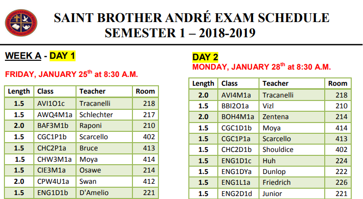 Final Sem 1 Exam Schedule Jan 2019