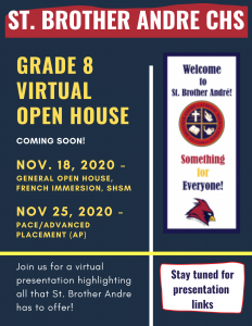 Grade 8 Virtual Open House – SAVE THE DATE!